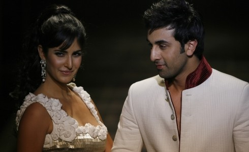 Bollywood actors Katrina and Ranbir present creations from Indian designer Rohit in New Delhi